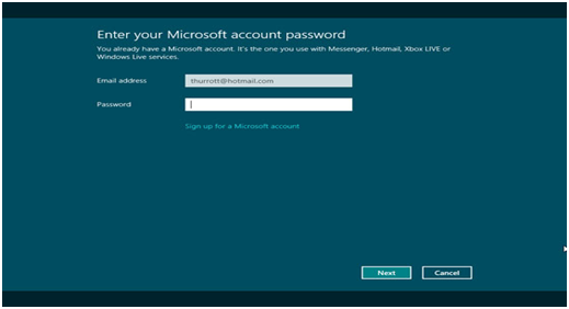 Sign up to Microsoft account